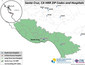 This is a map of the providers in the Hospital Referral Region of Santa Cruz, California.