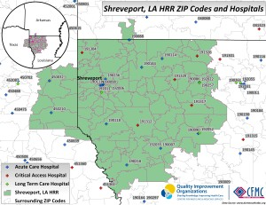 This is a map of the providers in the Hospital Referral Region of Shreveport, Louisiana.