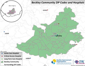 A map showing the zip codes and hospitals in the Beckley, West Virginia community area.
