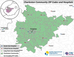 A map showing the zip codes and hospitals in the Charleston, West Virginia community area.